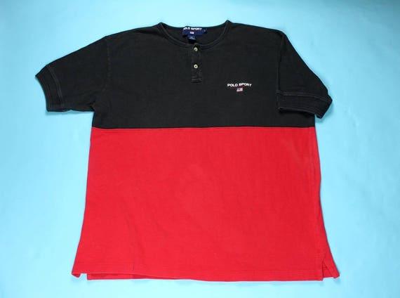 b5424a9e8a2 Vintage POLO SPORT Ralph Lauren Color Block Knit Shirt LARGE