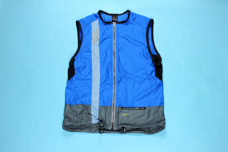 5b44d6d00e73 Vintage 90 s Nike Vest Full Zip LARGE Nylon Blue Volt Neon