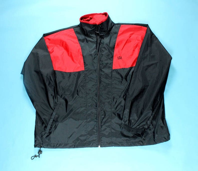 2ab255efc64ab Vintage 90's USA Olympics Nylon Windbreaker Track Jacket XL JC Penney Color  Block Red Black
