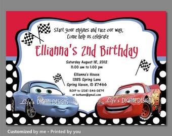 Cars Birthday Invitations Sally Invitation Lightning Mcqueen Polka Dots