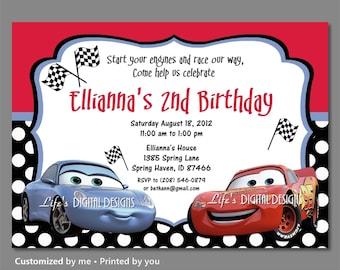 Cars Birthday Invitations Sally Invitation Lightning McQueen Polka Dots