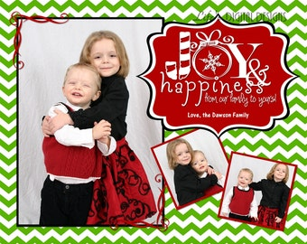 "Christmas Cards Joy and Happiness Photo Options Light Green Chevron Customizable Printable COSTCO Size (6"" x 7.5"")"