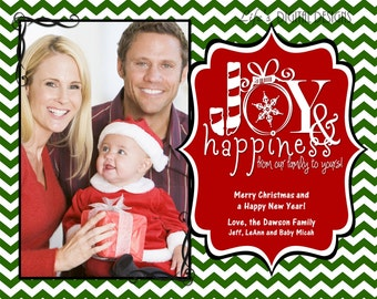 "Christmas Photo Cards Joy and Happiness Dark Green Chevron Customizable Printable COSTCO Size (6"" x 7.5"")"