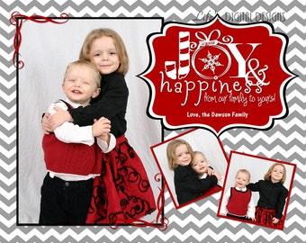 "Christmas Cards Joy and Happiness Photo Options Grey Chevron Customizable Printable COSTCO Size (6"" x 7.5"")"