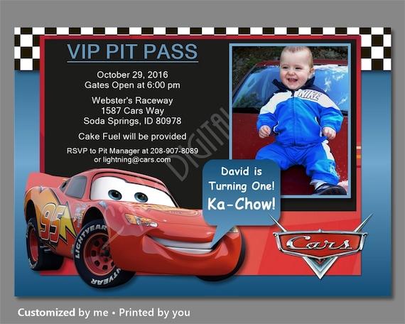 Cars Birthday Invitations Lightning McQueen