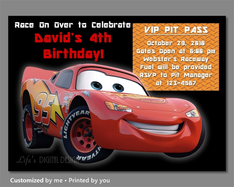 Cars Birthday Invitations Lightning McQueen Invitation
