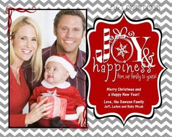"Christmas Photo Cards Joy and Happiness Grey Chevron Customizable Printable COSTCO Size (6"" x 7.5"")"