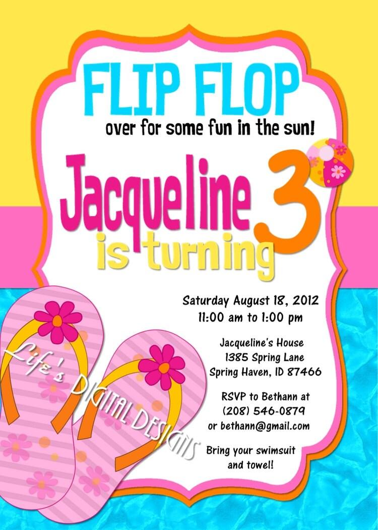 Flip Flop Birthday Invitations Pool Party Customizable