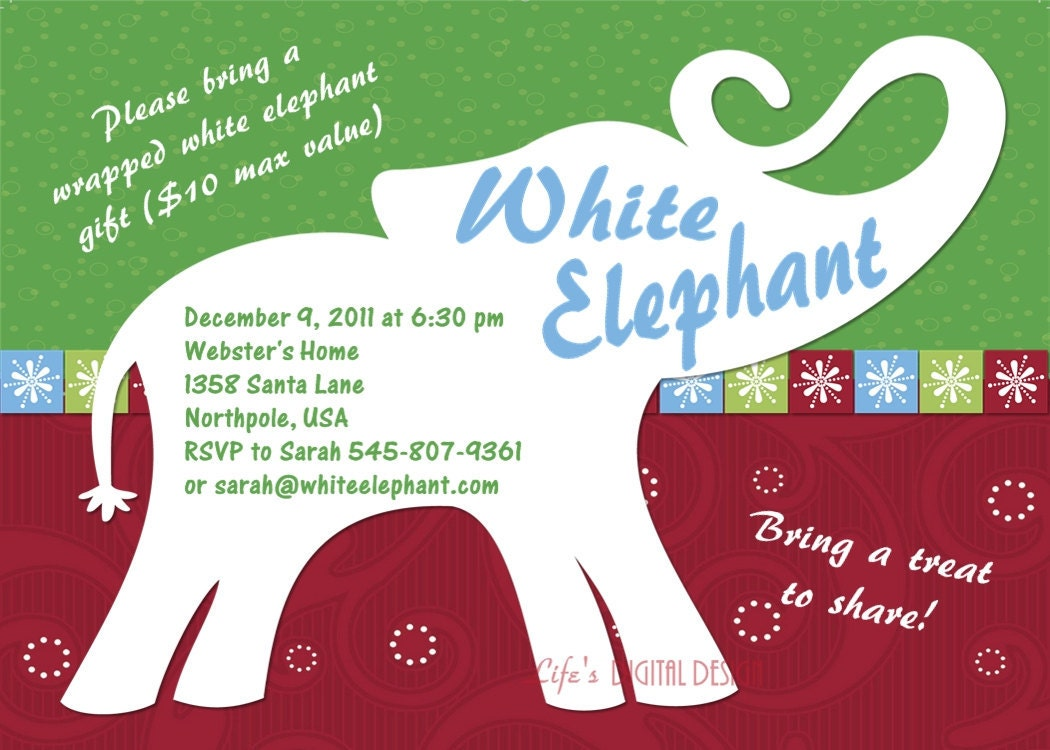 Fancy White Elephant Party Invitations Component - Resume Ideas ...