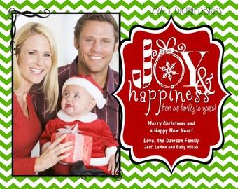 "Christmas Photo Cards Joy and Happiness Light Green Chevron Customizable Printable COSTCO Size (6"" x 7.5"")"