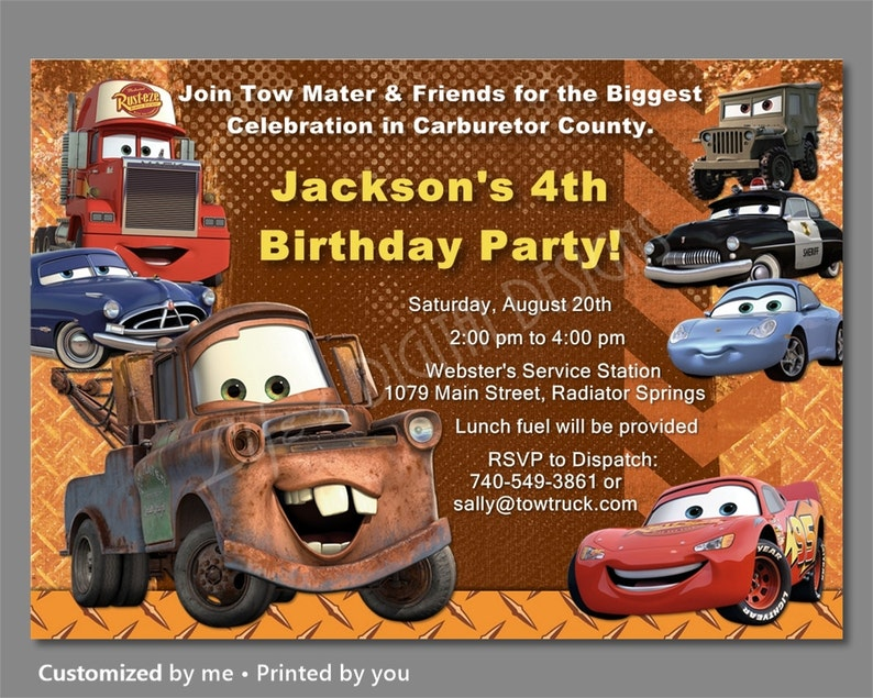 Cars Birthday Invitation Mater Invitations Disney