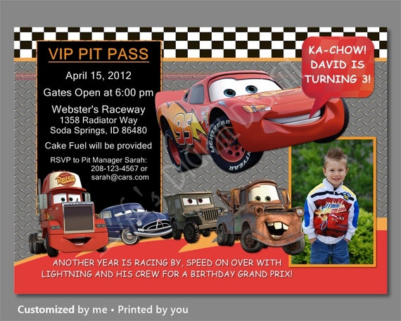 Cars birthday invitations cars invitation lightning mcqueen etsy image 0 filmwisefo