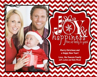 """Christmas Photo Cards Joy and Happiness Red Chevron Customizable Printable COSTCO Size (6"""" x 7.5"""")"""