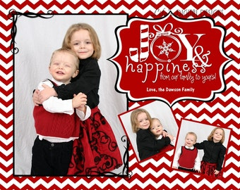 """Christmas Cards Joy and Happiness Photo Options Red Chevron Customizable Printable COSTCO Size (6"""" x 7.5"""")"""