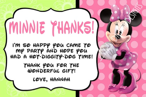 minnie mouse thank you card green pink photo option etsy