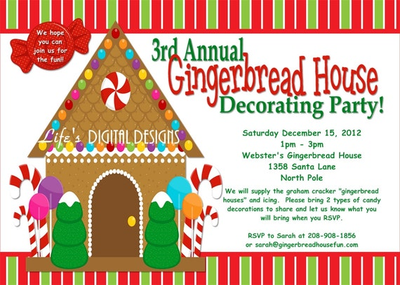 Gingerbread House Decorating Party Invitations Red And Green Etsy
