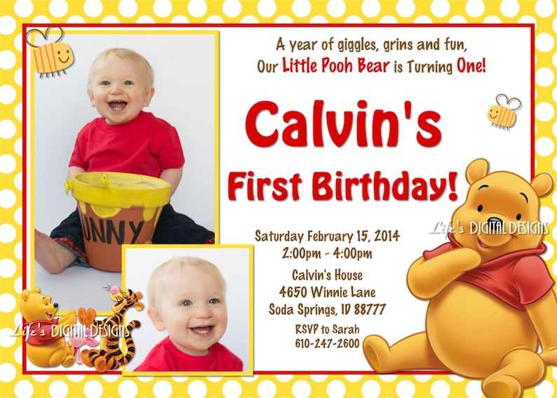 Magnificent Winnie The Pooh Birthday Invitation Yellow Polka Dots Photo Etsy Birthday Cards Printable Nowaargucafe Filternl