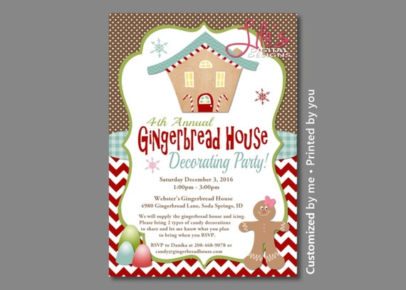 Gingerbread House Party Invitations Christmas Gingerbread Party