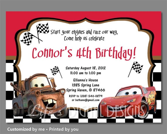 Cars Invitation Card Template Free: Cars Birthday Invitation Mater And Lightning McQueen