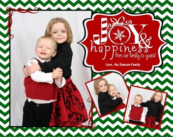"Christmas Cards Joy and Happiness Photo Options Dark Green Chevron Customizable Printable COSTCO Size (6"" x 7.5"")"
