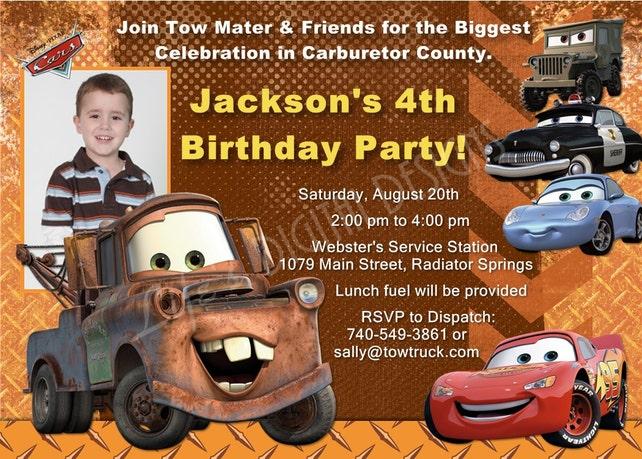 Cars Birthday Invitation Mater Invitations Disney Lightning McQueen Photo Option