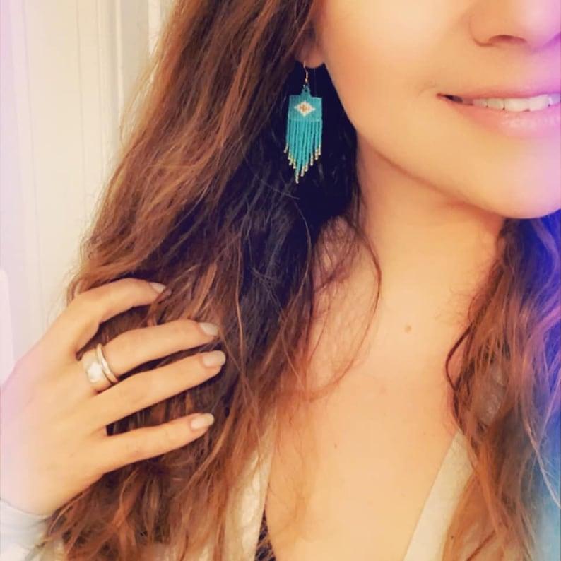 Sedona Sunrise Handwoven Seed Bead Fringe Earrings