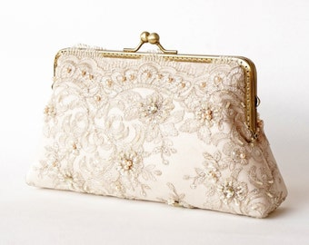 Elegant Wedding Beige Lace Bridal Clutch, Bridal Party clutch, Bridesmaid gifts