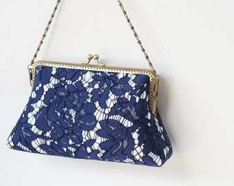 Cocktail clutch / Navy Blue Lace Clutch with Wristlet Chain / Formal Purse / Bridal Accessories / Art Deco