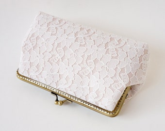 Wedding Party / Bridesmaid Chantilly Lace Clutch, choose your own initial option / Wedding Favor/ Vintage Wedding