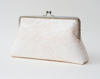 Blush Bridal Clutch / Bridesmaid Clutch Purse / Personalized Clutch / Wedding Lace Clutch / Shappy Chic Vintage inspired