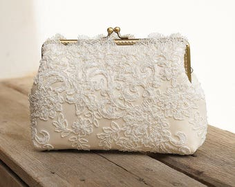 Sweet Couture Ivory Lace Clutch Purse / Beads and appliquéd lace clutch / Vintage Romance Wedding  / Bridal Accessories