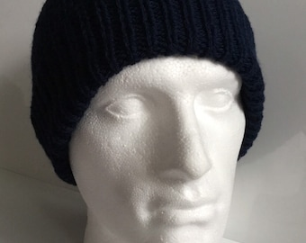 3fae9eab2c9 Mens Navy Aran Worsted 20% Wool Beanie Hat - Hand Knitted in Scotland