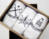 Handkerchiefs set of 3 Mens Hankies with Axe, Moonshine and Matches prints