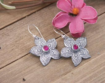 Artisan Handmade Sterling Silver Textured Flower Earrings with Ruby Gem, PMC Metal Clay