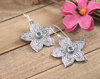 Artisan Handmade Sterling Silver Textured Flower Earrings with Blue Gem, PMC Metal Clay