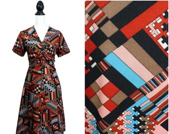 Funky VINTAGE RETRO 1970s Geometric Pattern  Bobble Button Graphic Dress UK 16 Fr 44 / Flared Skirt / Ruched bust / Mod