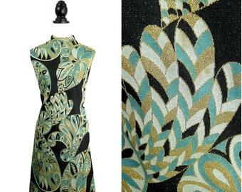 Art Deco VINTAGE 1960s Teal Gold Metallic Glitter Evening Shift Dress Uk 14 Fr 42 / Mod / Flapper / Cocktail Party