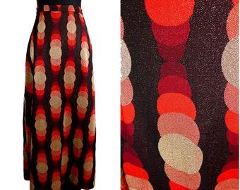 VINTAGE Retro Pop 1960's Red Black Gold Glitter Metallic Circle Maxi Skirt Uk 10 fr 38 / Mod/ GoGo / Psychedelic/ Funky