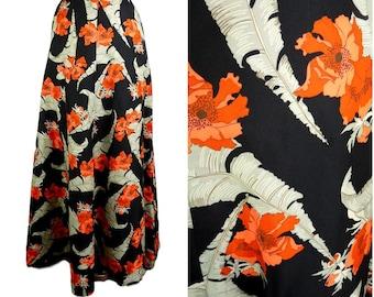 VINTAGE Bohemian 1970s Orange Flower Grey Fern Print Folk Maxi Skirt UK 12 Fr 40 / Funky / Flower/ Festival / Hippy