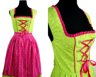 Bohemian VINTAGE Modern Lime Green Pink Flower lace Front Dirndl Dress UK 16 Fr 44 Oktoberfest / Tyrol / Austrian / German/ Celtic