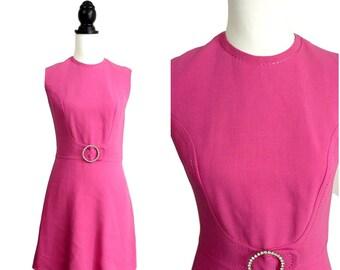 Mod VINTAGE 1960s Pink Diamante Trim Shift Mini Dress  Uk 10 Fr 38 / Mod / Scooter / GoGo / Cocktail Party