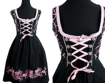 Bavarian VINTAGE Black Pink Embroidered Flower Oscar Dirndl Folk Dress UK 14 Fr 42 / Oktoberfest / Bohemian / Austrian / German/ Trachten