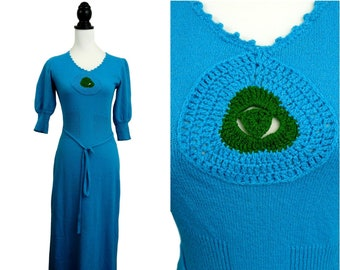 Bohemian VINTAGE 1970s Funky Turquoise Knit Cut Work Motif Belted Maxi Dress Uk 10 F 38 / Hippy / Festival Chic