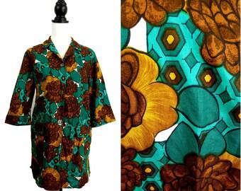 VINTAGE 1950s Retro Teal Green Brown Flower Tunic Shirt Top UK 16 FR 44 Kitsch / Hepburn /Mod