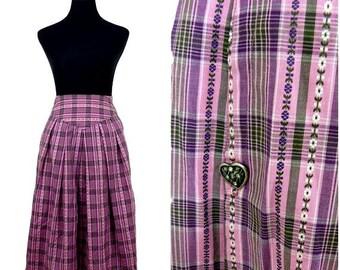 VINTAGE BOHEMIAN Tyrolean German Austrian Pink Check Flower Folk Dirndl Skirt Uk 10 Fr 38 /  Fitted waist / Heart Button Side