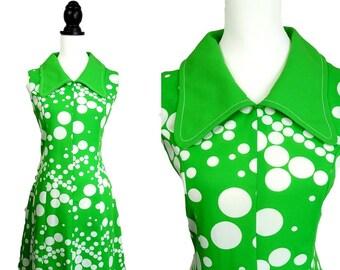 Paul Jason VINTAGE RETRO 1970s Psychedelic Green White Spot Dot  Dress UK 12 Fr 40 / Flared Skirt / Penny Collar / Groovy/ Summer Festival