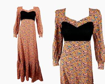 35a9c5dffcc VINTAGE 1970s Dress / Orange Floral /Prairie Dress/Bohemian Dress /Maxi  Dress /UK 12 FR 40/ 70s dress / 70s clothing /Cotton Dress/ Hippy