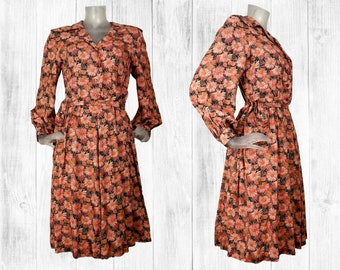 Vintage 1940s Cream Black Blue DITSY FLORAL Print TEA Dress 12 M 40s Contrast collar and cuffs