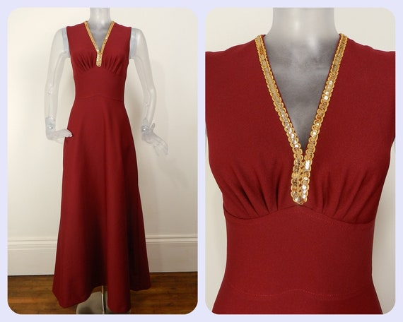 VINTAGE 1970s Maxi Dress/Wine Red Gold Sequin Even