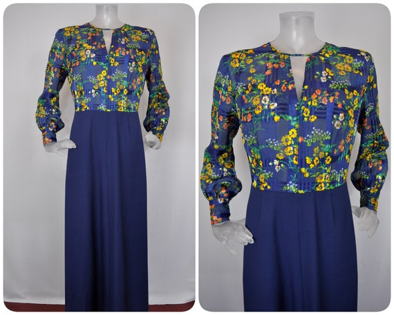 VINTAGE 1960s Maxi Dress/Navy Blue Orange Pop Flow